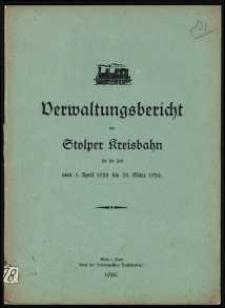 Verwaltungsbericht der Stolper Kreisbahn für die Zeit vom 1. April 1925 bis 31. März 1926