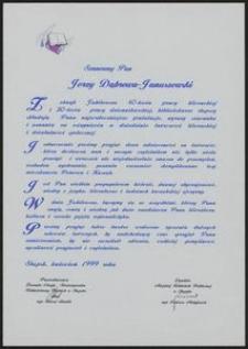 List Gratulacyjny z okazji Jubileuszu