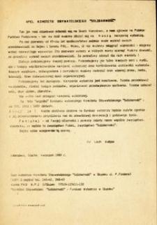 """Apel Komitetu Obywatelskiego """"Solidarność"""""""