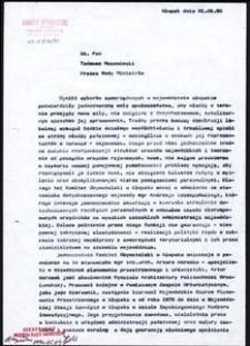 [Pismo do Prezesa Rady Ministrów - Pana Tadeusza Mazowieckiego]